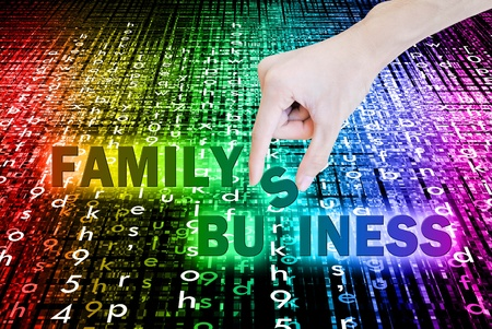 Hand pick and lift button family business word on the bokeh Stock Photo - 10801573