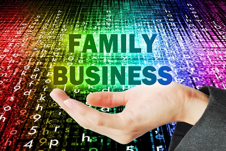 Hand support and lift button family business word on the bokeh Stock Photo