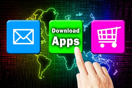 Hand touchscreen and press button download application Stock Photo - 10874465