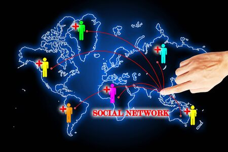 Hand press on social network search engines Stock Photo - 10874461
