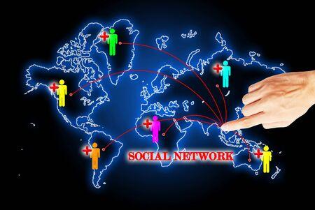 sociologia: Mano de prensa sobre los motores de la red de búsqueda social Foto de archivo