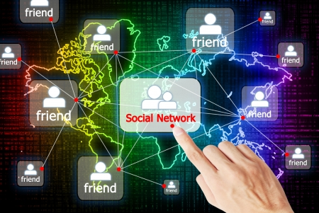 Hand press the button social network that connect to other people