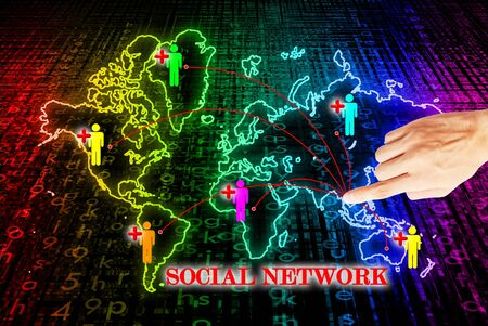 Hand press on social network search engines Stock Photo - 10874483