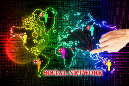 Hand press on social network search engines Stock Photo - 10874484