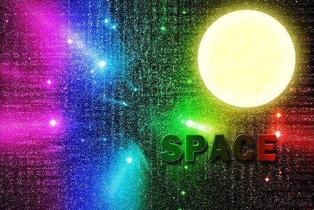 Space word in universe with full moon Stock Photo - 10942785