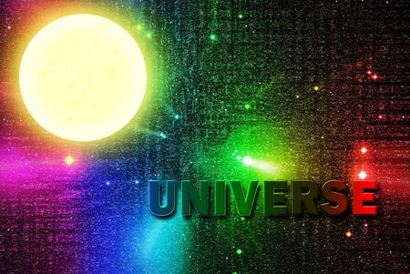 Universe word in universe with full moon photo