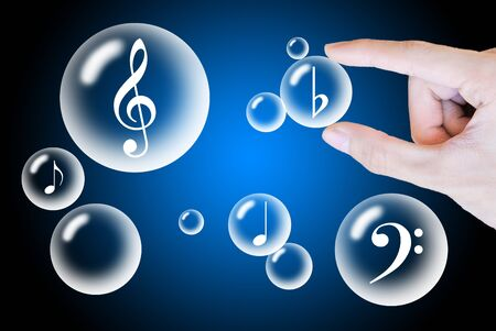 teardrop: Hand pick bubble and music sign on blue abstract background