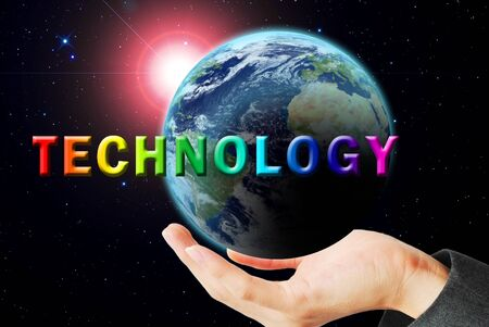 nuclear explosion: Hand hold the earth and sun ray with technology word Stock Photo