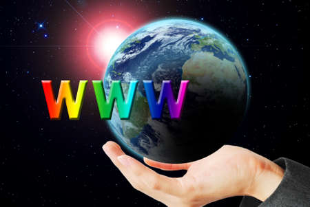 maketing: Hand hold the earth and sun ray with WWW word Stock Photo