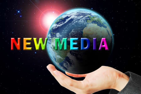 maketing: Hand hold the earth and sun ray with new media word