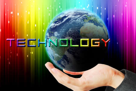 maketing: Hand hold the earth and sun ray with technology word Stock Photo