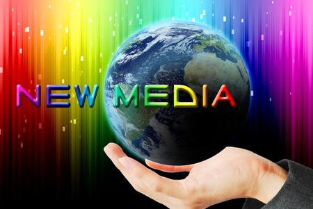 new media: Hand hold the earth and sun ray with technology word Stock Photo