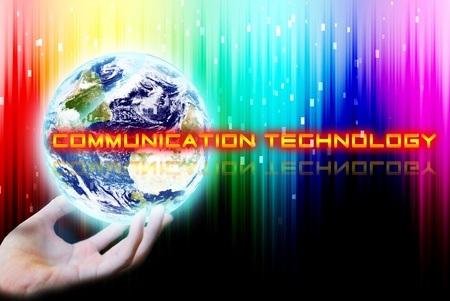maketing: Hand touch the earth with communication technology word Stock Photo
