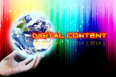 maketing: Hand touch the earth with digital content word Stock Photo
