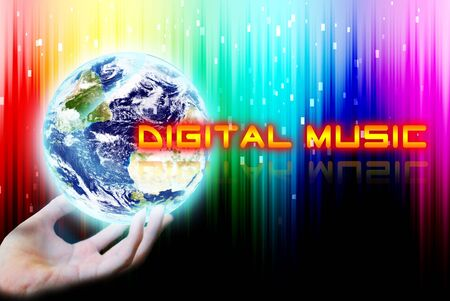 digital music: Hand touch the earth with digital music word