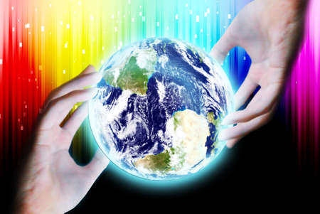 maketing: Hand touch the earth on abstract background Stock Photo