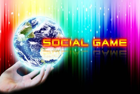 maketing: Hand touch the earth with social game word