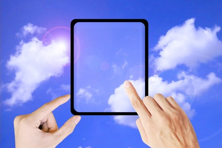 input devices: Hand touch the tablet on the sky