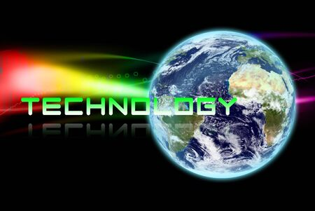 The earth with technology word on abstract background photo
