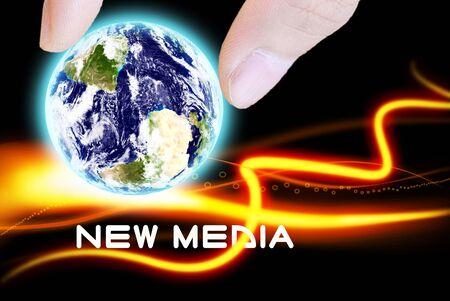 new media: The earth and beautiful orange abstract with new media word Stock Photo