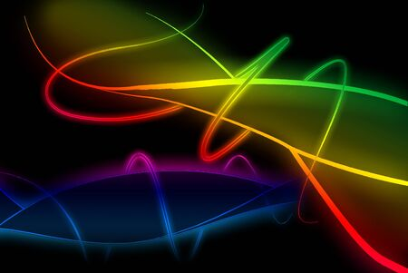 iridescent: The beautiful rainbow abstract is on black background Stock Photo