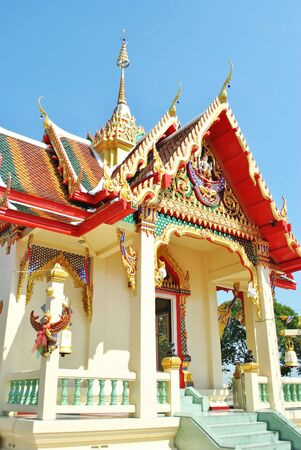 ornately: Detail of ornately decorate pattern temple in thailand Stock Photo