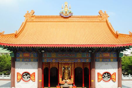 Small beautiful chinese temple is in thailand photo