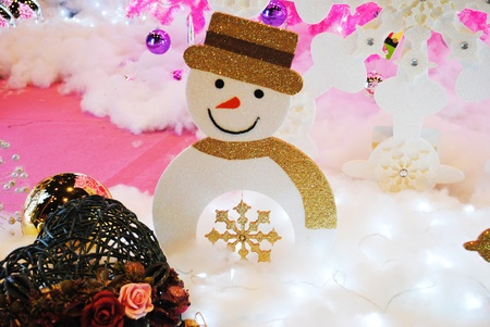 Toy decoration snowman is in greeting fair photo