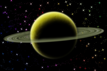 Saturn planet in solar system on star photo