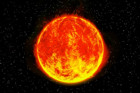 Sun planet in solar system on star photo