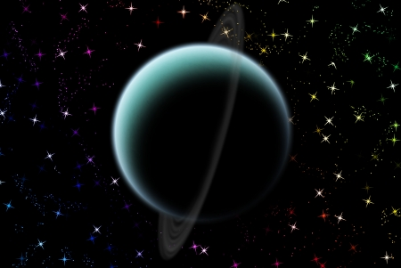 Uranus planet in solar system on star photo