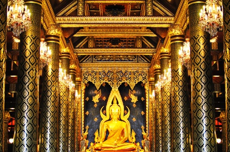 The golden buddha statue in temple bangkok thailand