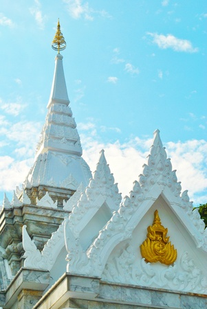 White temple is very beautiful with in blue sky photo