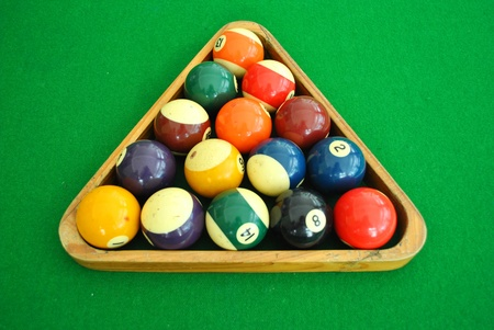 Snooker ball is on the snooker desk  photo