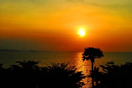 Beautiful sunset is taken on pataya beach photo