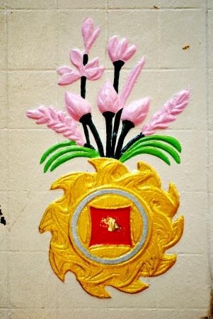 dhamma: Rowel of dhamma is on the wall Stock Photo