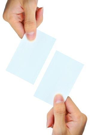 hand business card: La mano si afferra la carta bianca nome vuoto