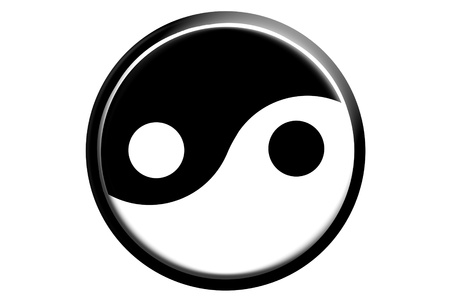Ying yang sign is on paint background photo