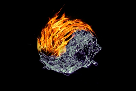 Fire and water abstract beautiful on the black background Archivio Fotografico