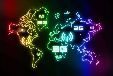 3g: 3G wifi is  in the spectrum design Stock Photo