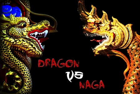 baclground: Chinese dragons and naga statue in black baclground