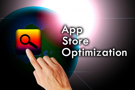 App store opptimization word text on the vector Archivio Fotografico