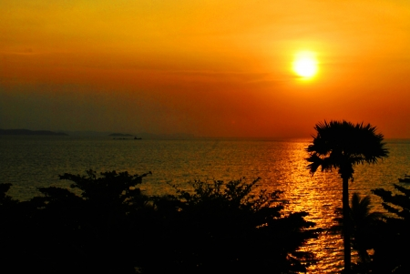 sunsets: Beautiful sunset in holidays near sea inThailand