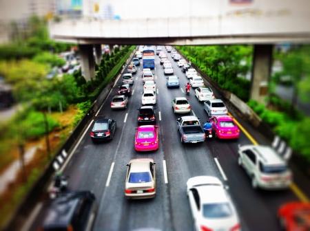 one lane: Traffic jam of rush hour in the morning