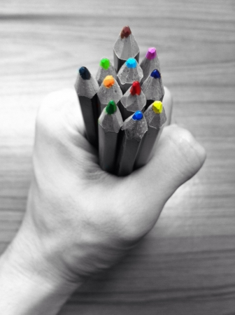 colorful: Colorful of color pencil in hand