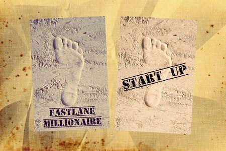 up: Fast lane millionaire start up concept idea