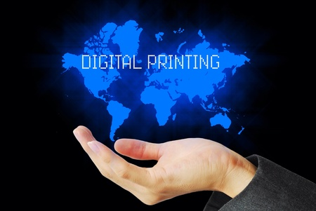 technology background: Hand touch digital printing  online technology background