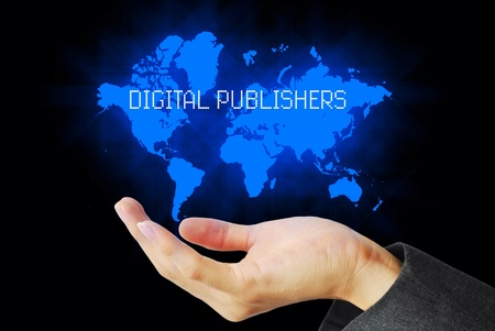 publishers: Hand touch digital publisher technology background Stock Photo
