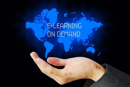 e business: Hand touch e-learning on demand technology background