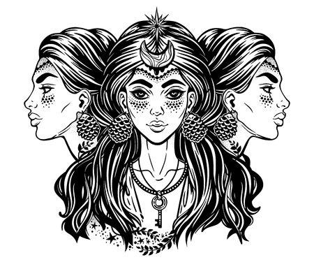 Magic goddess Hecate. Triple faced beautiful woman with long hair, key and moon.